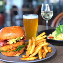A scrumptious burger and fries with beer - Saturday lunch done right!