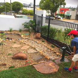 Kiddies can play at the rock pool that's overlooked by the outdoor dining area.